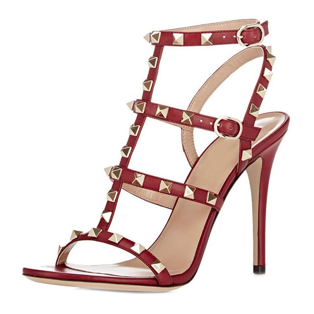 Red(matte) VOCOSI Women's Ankle Strap High Heels Studded Strappy Stilettos Open Toe Dress Sandals