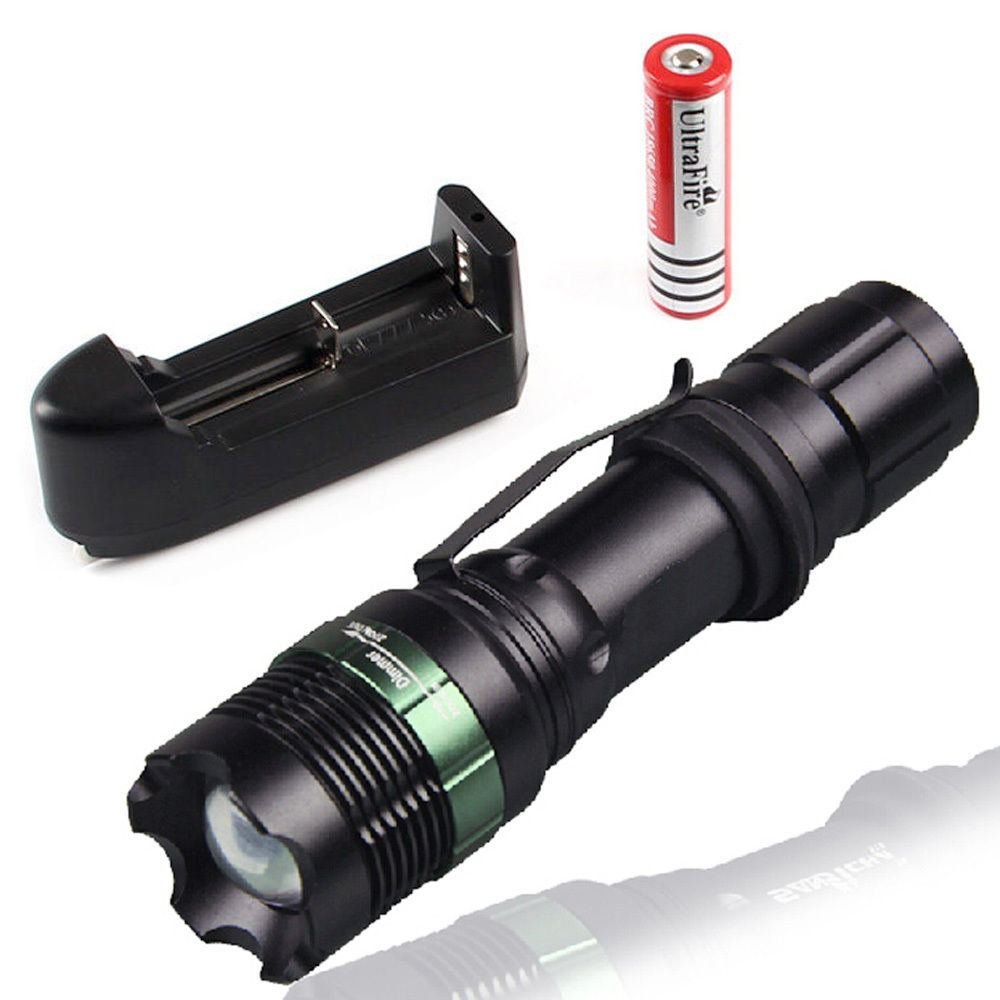 2200LM CREE XM-L T6 LED Flashlight Focus Torch light Lamp Zoom + 18650 Charger T