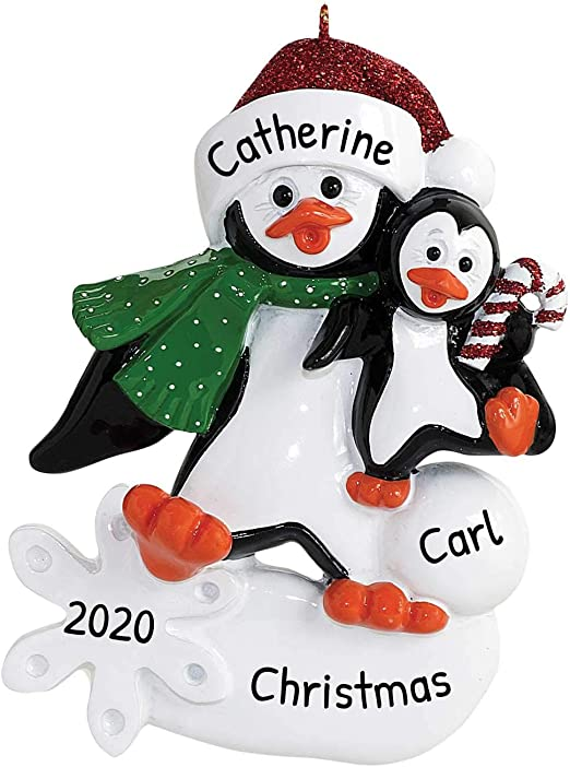 Volunteering At Christmas For Foster Children 2020 Amazon.com: Personalized Parent Penguin with 1 Child Christmas
