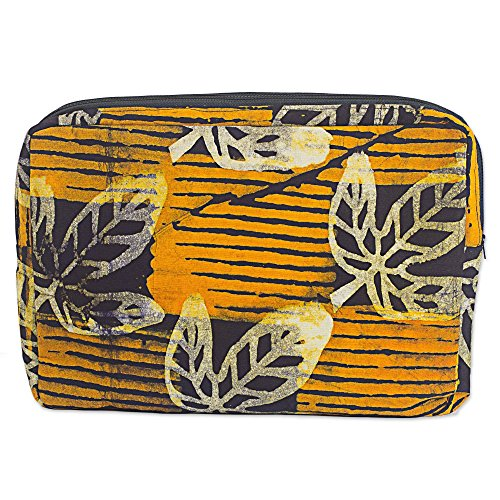 NOVICA Brown Batik Cotton Tablet Sleeve, Leafy Protector' ()