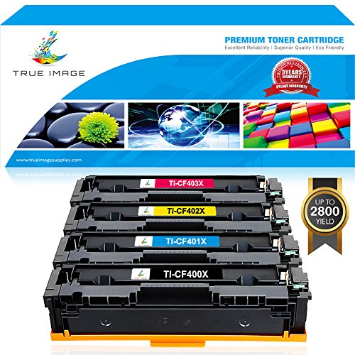True Image 4 Packs Compatible for HP 201X CF400X 201A CF400A CF401A CF402A CF403A Toner Cartridge Ink for HP Color Laserjet Pro MFP M277dw M277n M277c6 M277 HP Color Laserjet Pro MFP M252dw M252n M252