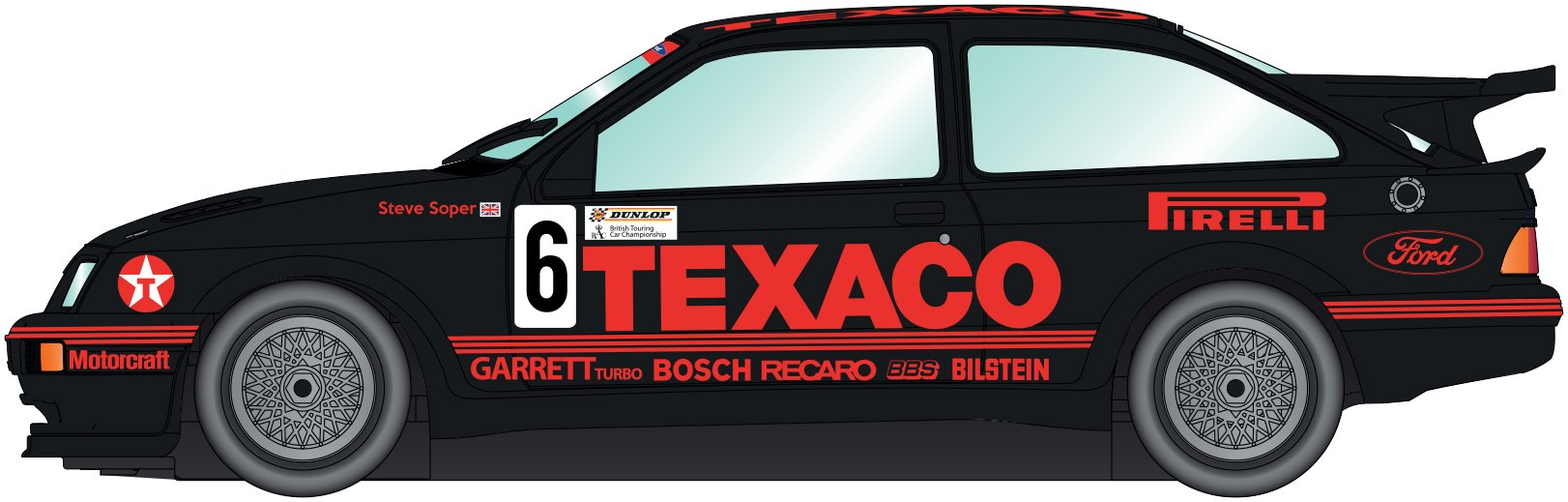 Scalextric Ford Sierra RS500 TEXACO British Touring Championship 1988 Brands Hatch Slot Car (1: 32 Scale)