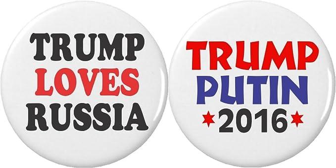 Amazon.com: Juego de 2 Trump Loves Rusia Putin 2.25 ...
