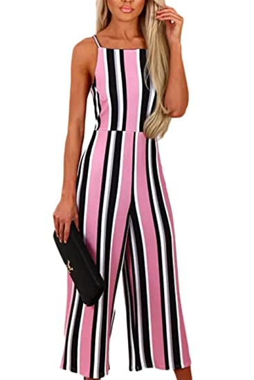 abb220e88f1 Simgahuva Women s Casual Jumpsuit Vertical Striped Colorblock Sleeveless Wide  Leg Rompers Long Pants Pink S