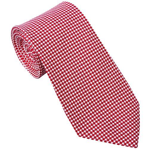 Sebastien Grey Men's 7 Fold Silk Tie Houndstooth Design (Red & White Houndstooth) - Design Printed Silk Tie
