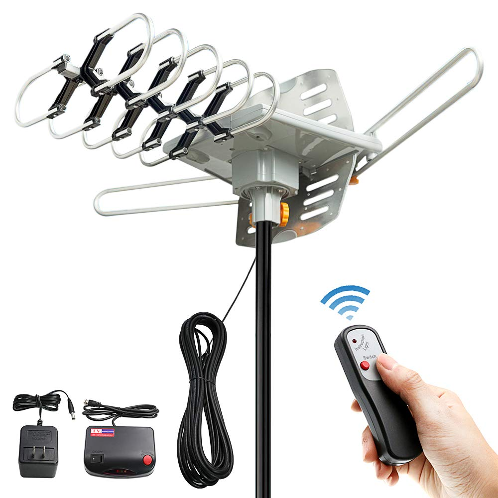1080P UHF//VHF 4K Snap-On Installation Upgraded Version pingbingding Outdoor Digital HD TV Antenna 150 Miles Motorized 360 Degree Rotation with 60FT RG6 Coax Cable