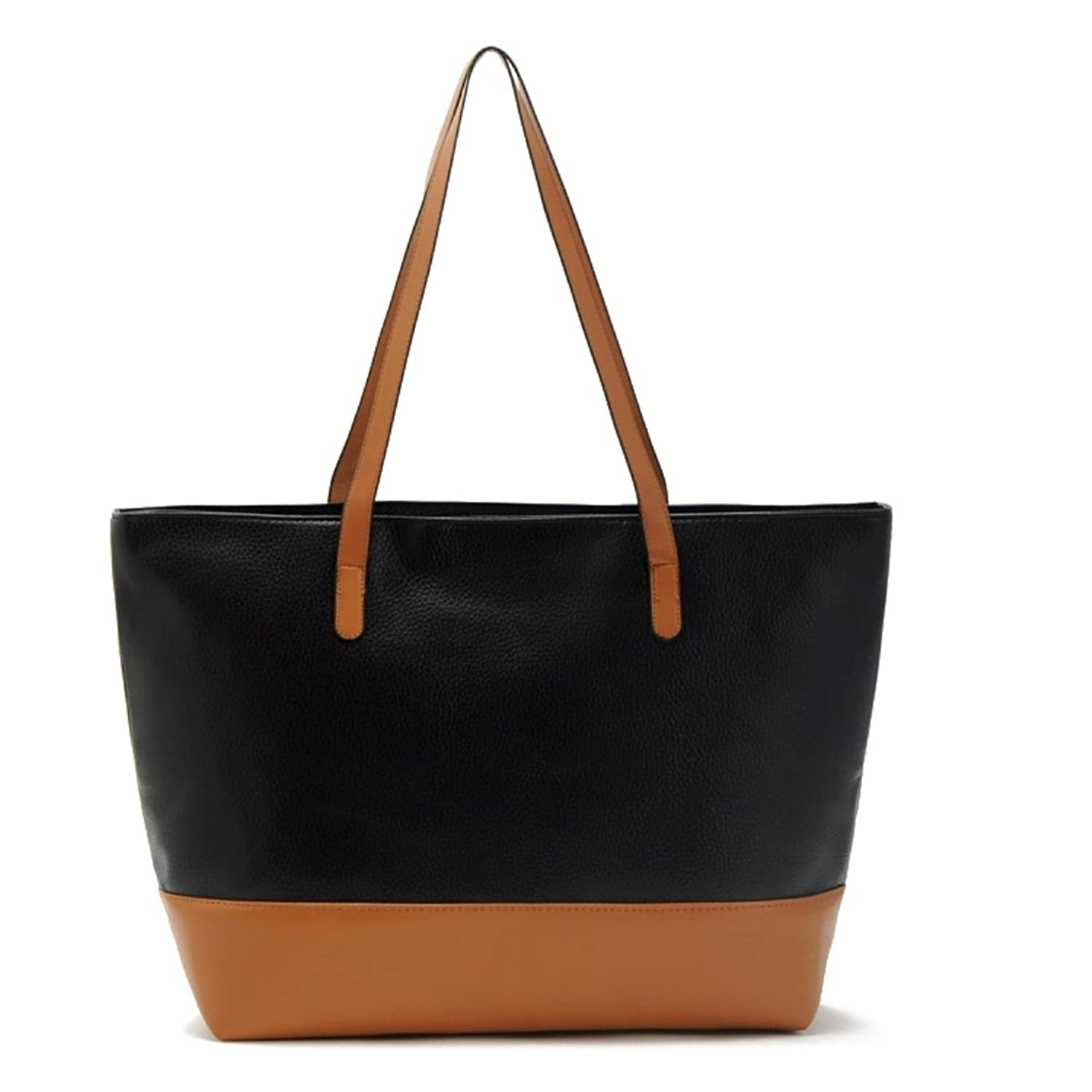 Flowertree Women's Grain Synthetic Leather Splicing Tote Shoulder ...
