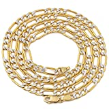 """MR. BLING 14K Two Tone Gold 4.5mm Pave Hollow Figaro Chain Necklace with Lobster Lock (18"""" 20"""" 22"""" 24"""" 26"""")"""