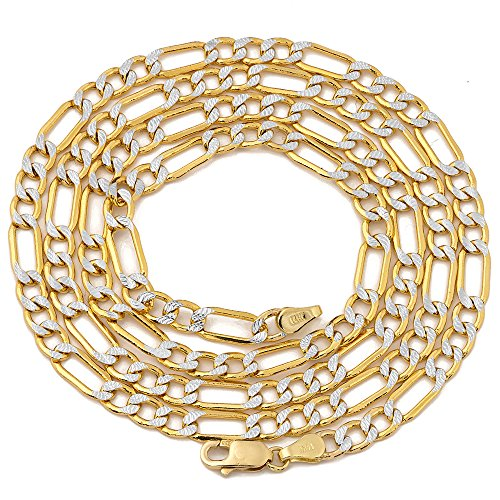 """LOVEBLING 14K Two Tone Gold 4.5mm 26"""" Pave Hollow Figaro Chain Necklace Lobster Lock"""