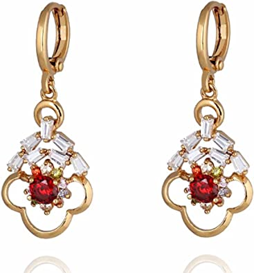 YAZILIND Hollow Flower Shape Inlaid Cubic Zirconia Pendant Hoop Earrings Ideal Gift for Women Girl
