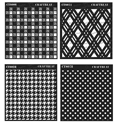 (CrafTreat Stencil - Shepherds Check, Double Diamond, Houndstooth & Bold Polka Dots (4 pcs) | Reusable Painting Template for Home Decor, Crafting, DIY Albums and Printing on Paper, Wall)
