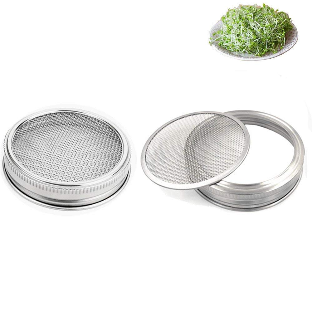 Favson Set of 2 Stainless Steel Sprouting Jar Lid Kit for Superb Ventilation Fit for Wide Mouth Mason Jars Canning Jars for making organic sprout seeds in your house/kitchen