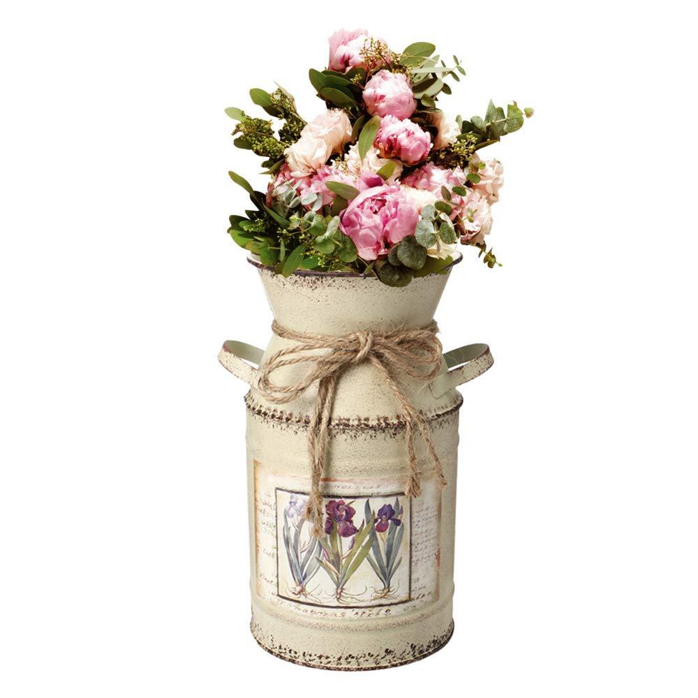 dise/ño de Flores Cocina Dormitorio Jarra de Metal para Leche sal/ón IDoall Jarr/ón r/ústico Decorativo de 19 cm de Alto Cuerda de dise/ño