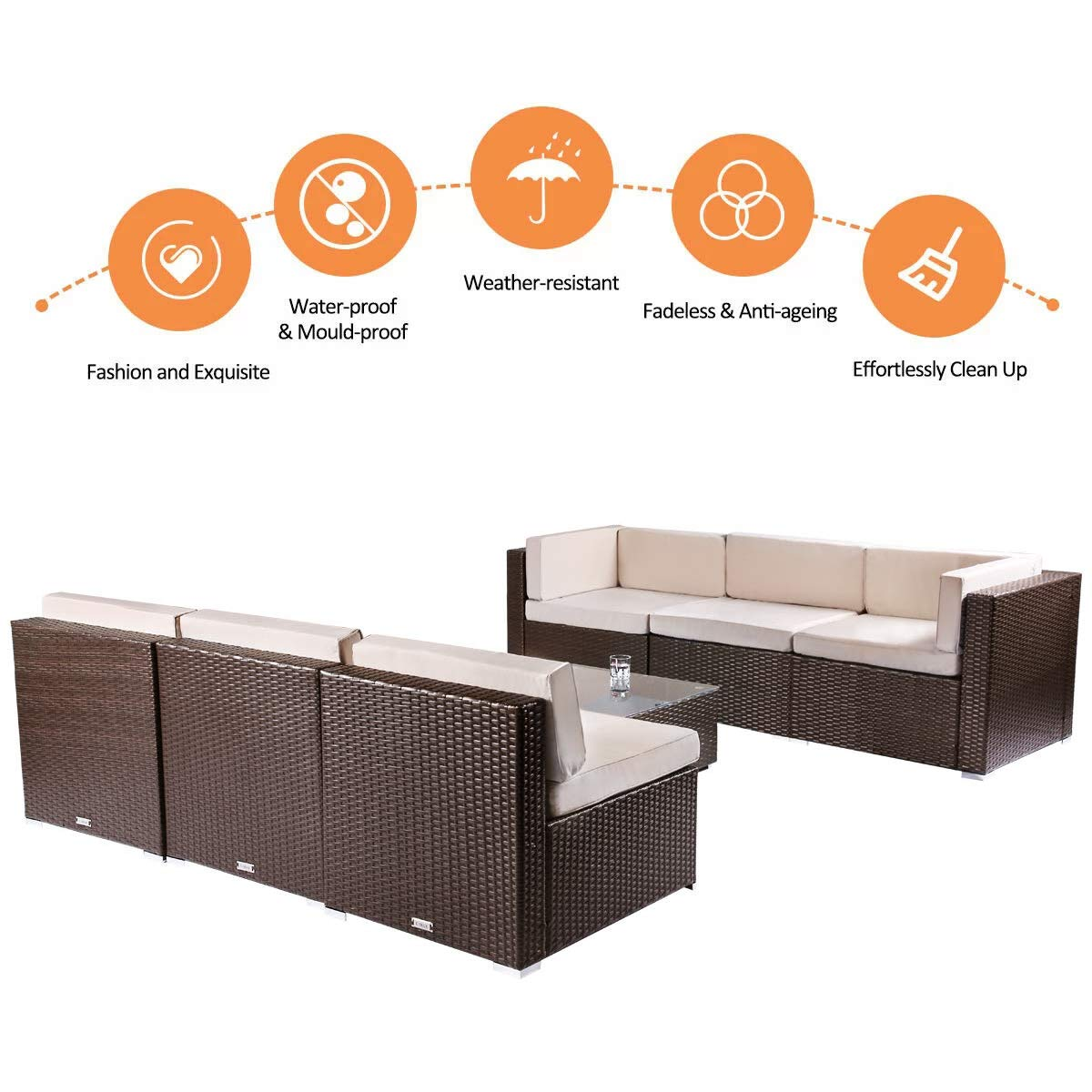 BaoChen 7 Piece Outdoor Patio Furniture Sets PE Rattan Conversation Sofa Set Sectional Wicker Chair with Cushions and Tea Table Brown