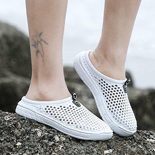 Xing Lin Flip Flop De La Playa Agujero Verano Media Masculina Zapatos Zapatillas Casual Hueca Transpirable Calzado De Playa Marea Zapatillas Sandalias Parejas Hombres ZL-898 white