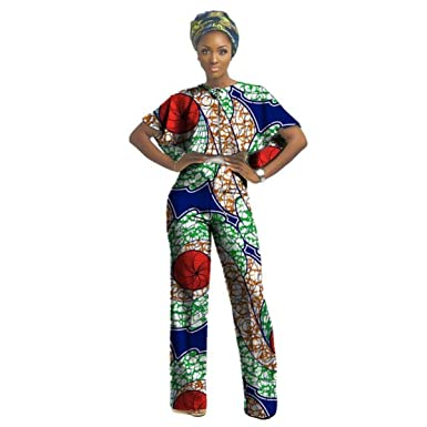 8c367090aa88f Amazon.com  African Clothing For Women Nigerian Ghanaian Style Dashiki Print  Lady Jumper Top and Pants jumpsuit  Clothing