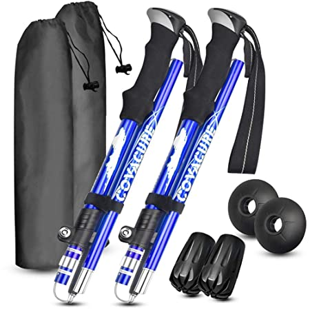 Trekking Poles Collapsible Hiking Poles – Auminum Alloy 7075 Trekking Sticks,Antishock and Quick Lock System, Telescopic, Collapsible, Ultralight for Hiking, Camping