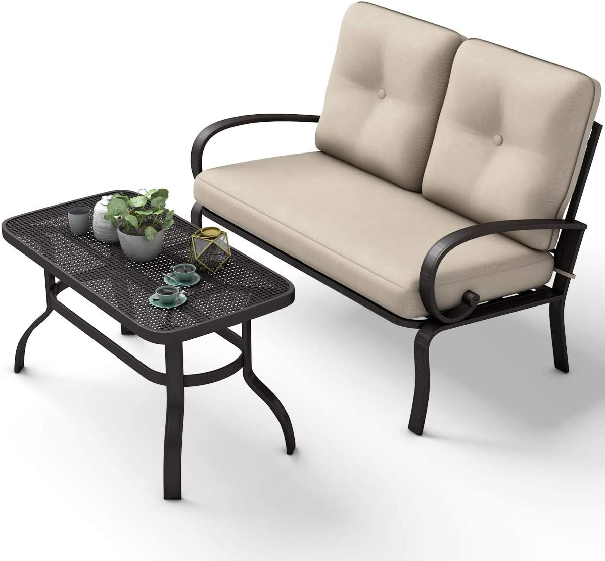 SPSUPE 2 Pcs Outdoor Patio Loveseat with Coffee Table, Metal Frame Bench with Cushion, Furniture Set Sofa, Ideal for Patio, Garden or Poolside