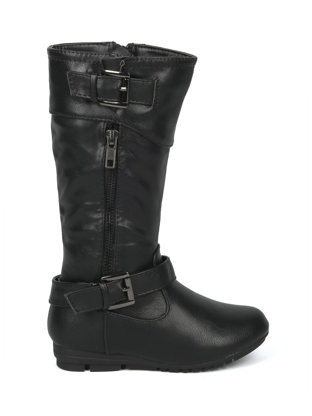 Alrisco Girls Leatherette Buckled Tall Riding Boot HF94 - Black Leatherette (Size: Little Kid 11) by Alrisco (Image #2)