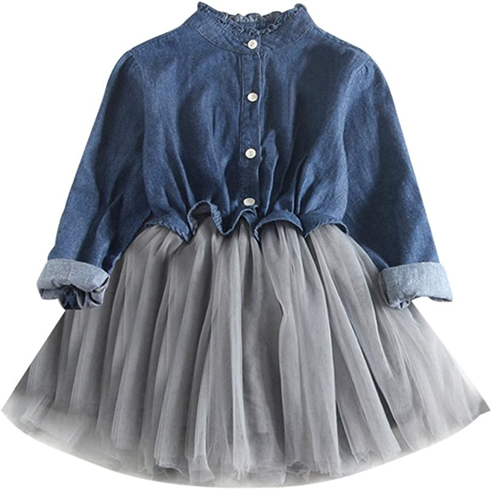 ❤Ywoow❤ Toddler Baby Girls Denim Dress Long Sleeve Princess Tutu Dress Cowboy Clothes 61fw9-5TfNL