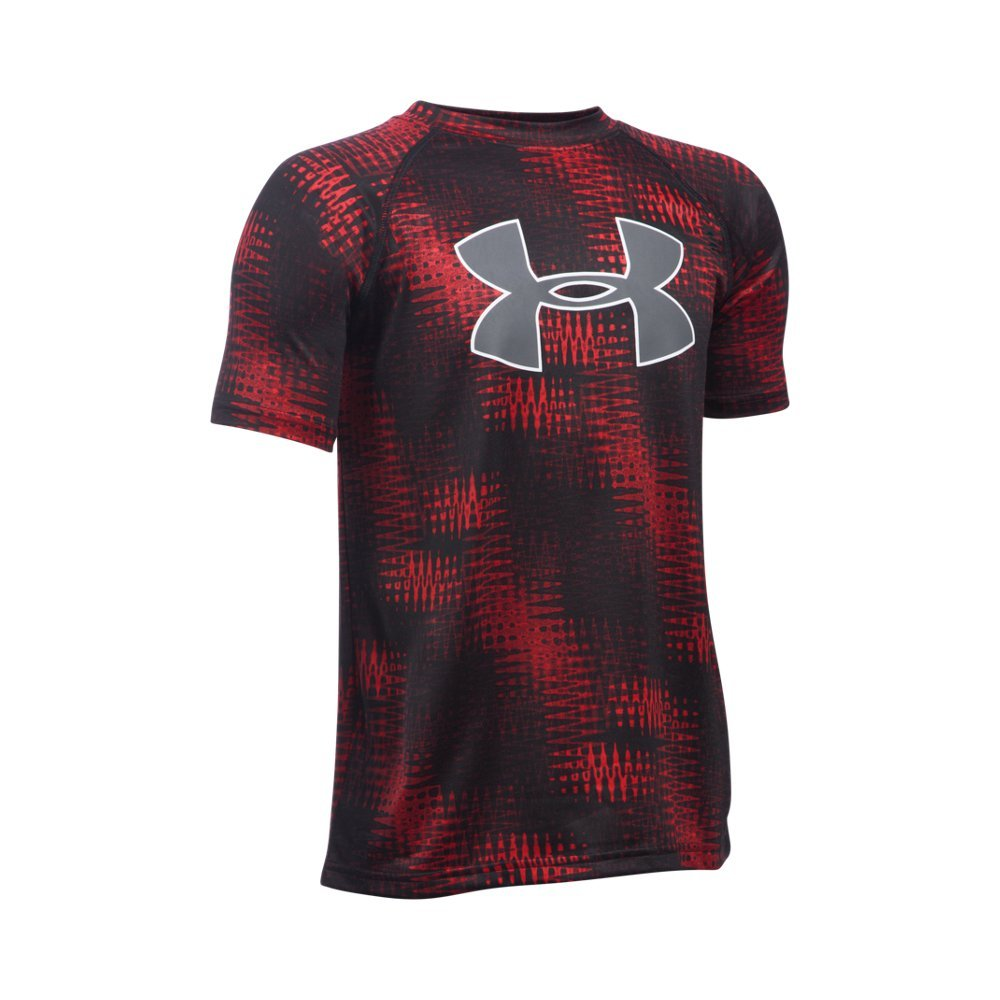 Under Armour Boys' Tech Big Logo Printed Short Sleeve T-Shirt, Red/Black, Youth Small