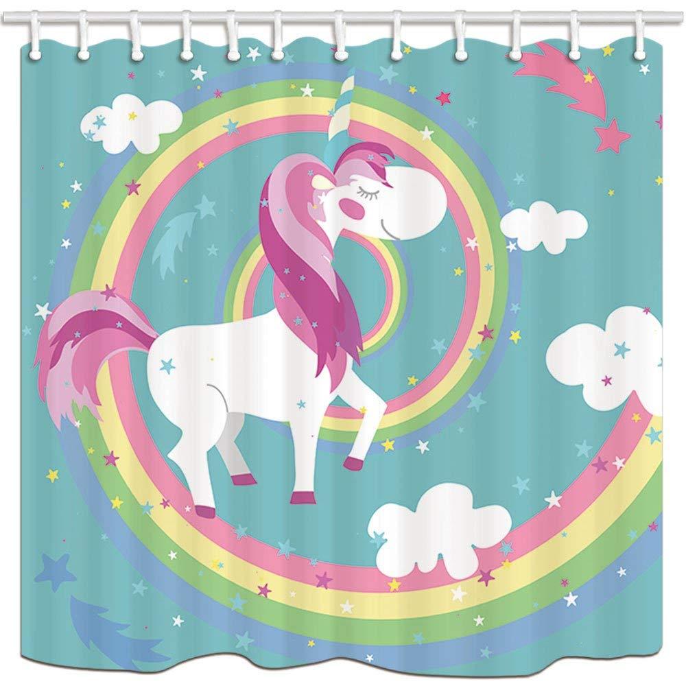 Nyngei Impresi/ón Digital 3D Animales Dibujos Animados Decoraci/ón Unicornios en Rainbow Circle para Chica Adolescente Cortinas ba/ño Tela poli/éster Ba/ño Impermeable 180X180CM Ganchos