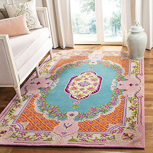 Safavieh Bellagio Collection BLG535M Blue and Pink Premium Wool Area Rug 4 x 6