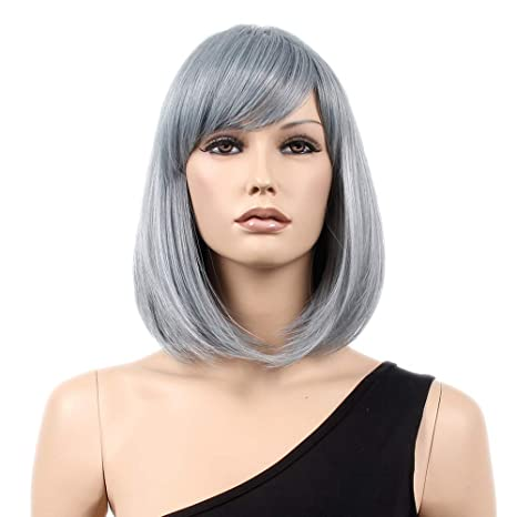 stfantasy Bob peluca Bobbed corto recto mediano lolita gris wig para Cosplay disfraz fiesta