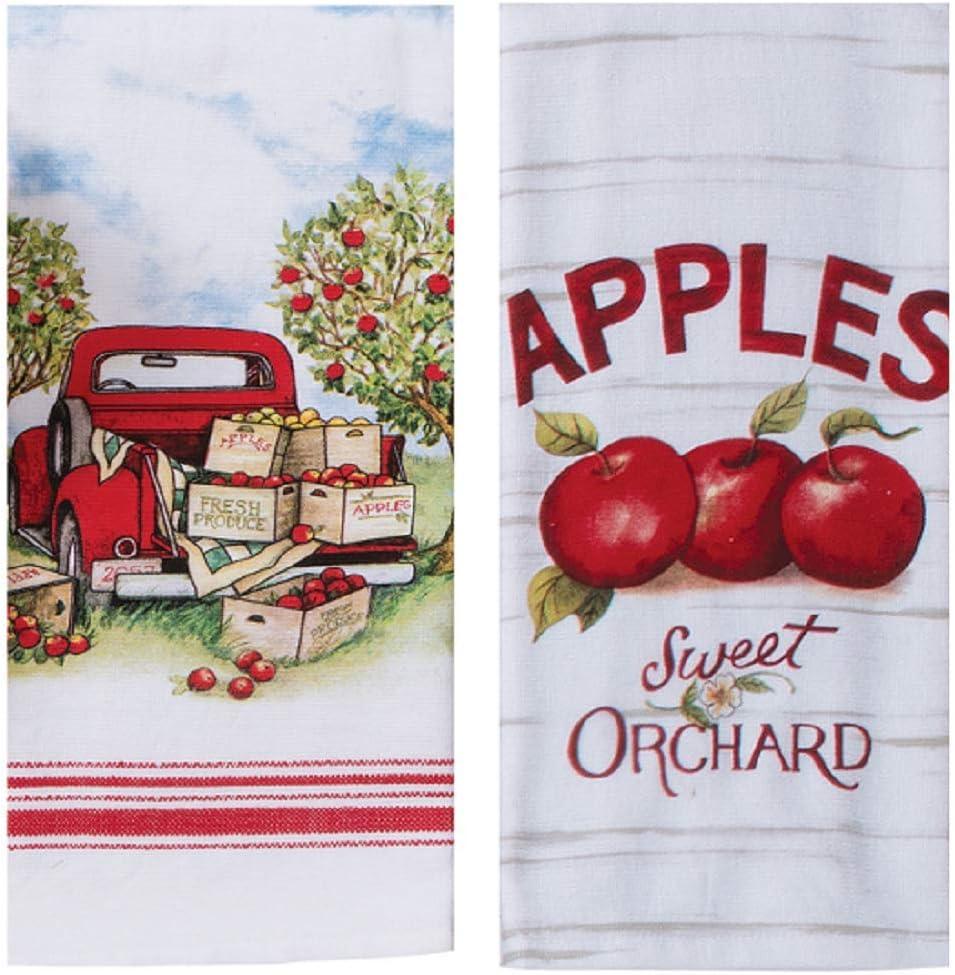 KayDeeDesigns 2 Piece Red Apple Picking Kitchen Set, 2 Dual Purpose Towels