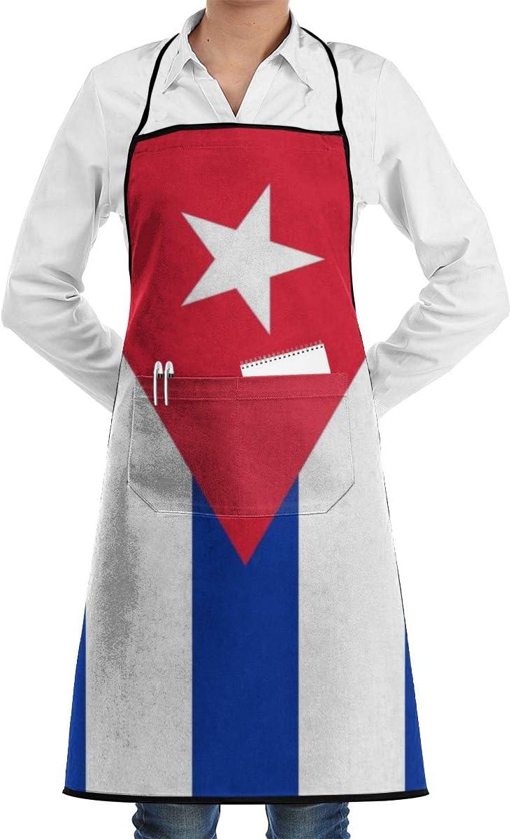 Kitchen Chef Bib Apron Cuban Flag Neck Waist Tie Center Kangaroo Pocket Waterproof