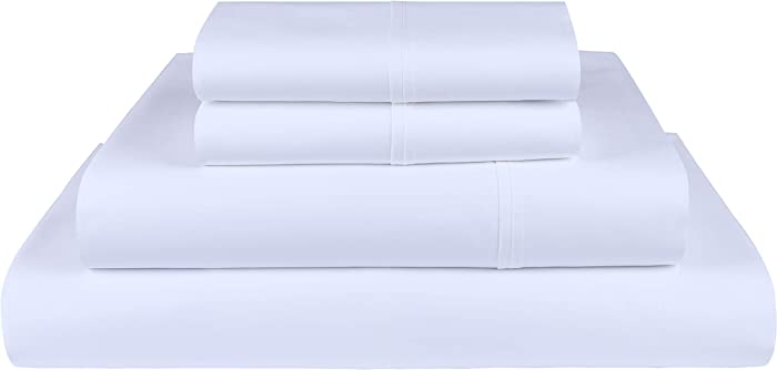 Threadmill Home Linen 800 Thread Count 100% Extra-Long Staple Cotton, Queen 4 Piece Bed Sheet Set, Luxury Bedding, Fits Mattresses up to 18 inches deep, Smooth Sateen Weave, White