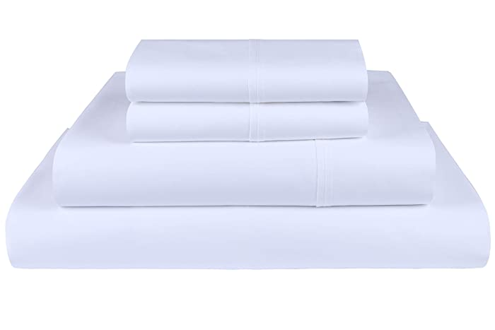 Threadmill Home Linen 600 Thread Count 100% Cotton Sheets, White Queen Sheets 4 Piece Cotton Bed Sheet Set, ELS Cotton Bed Sheets Solid Sateen Sheets Fits Mattress Up to 18'' Deep Pocket