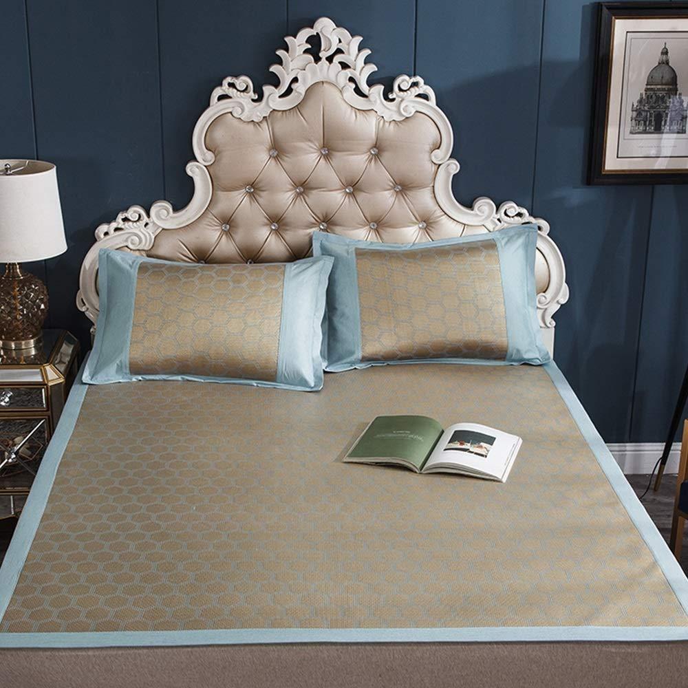 E 120X200cm TYUIO Mattress Topper Pad Cooling Summer Sleeping Mat and Pillow Shams Set, Rattan mat mat Summer air-Conditioned Room Sleeping mat Foldable (color   D, Size   200X220cm)