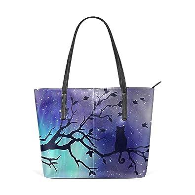 Amazon.com  Galaxy Aurora Cat Leather Satchels Purses Shoulder Tote Bags  Satchel Womens  Shoes 6fda90edcb633