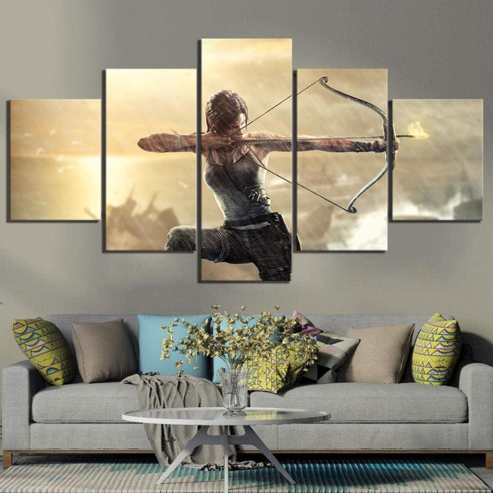 WINPRINT 5 Pi/èces Jeu Poster Peints Tomb Raider Lara Croft Tableaux Peints sur Toile Wall Art pour la D/écoration Domestique