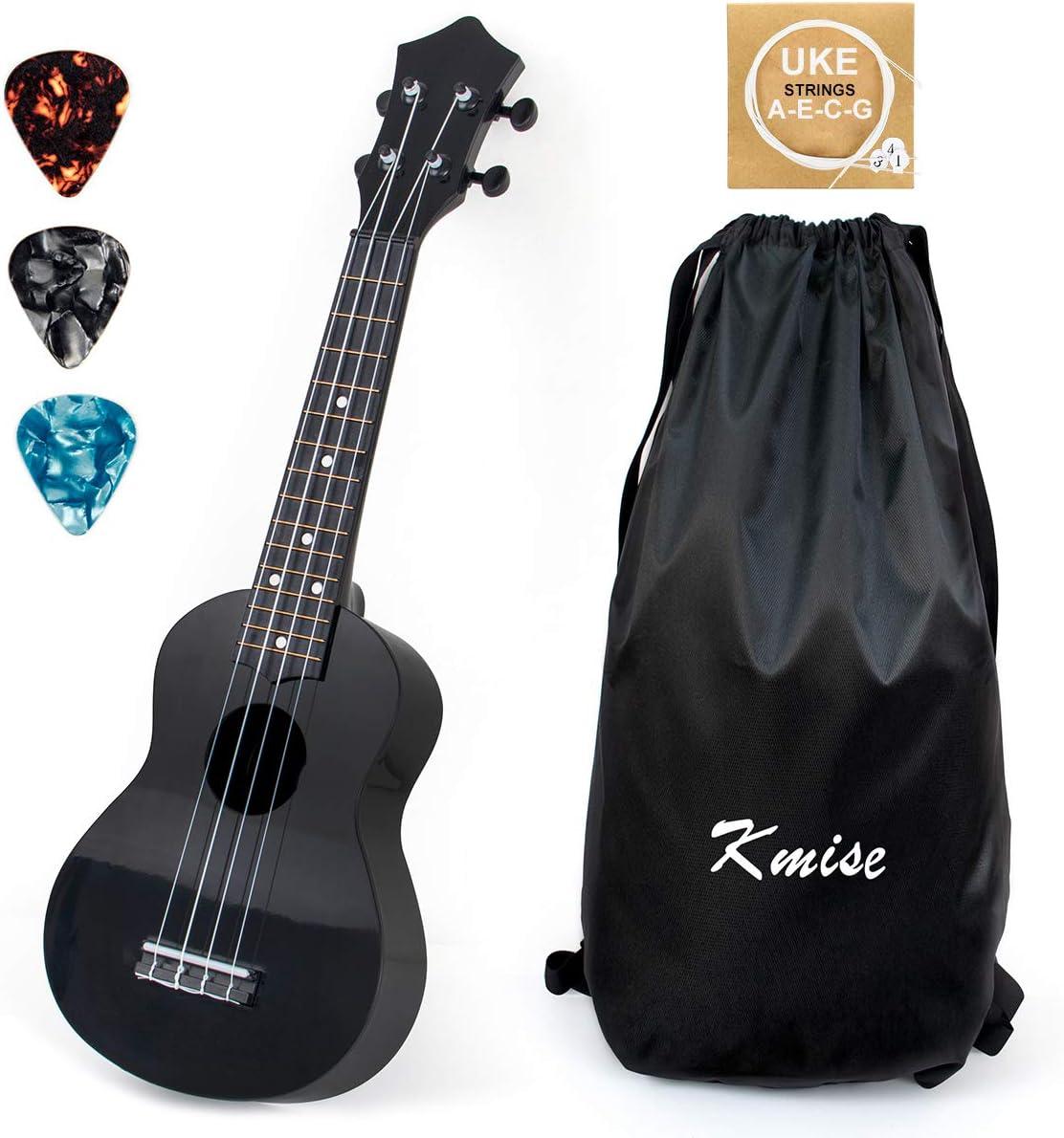 Kmise Soprano Ukulele for Beginners 21 inch ukelele Birthday Chrismas gift kit with Bag Picks String (Black)