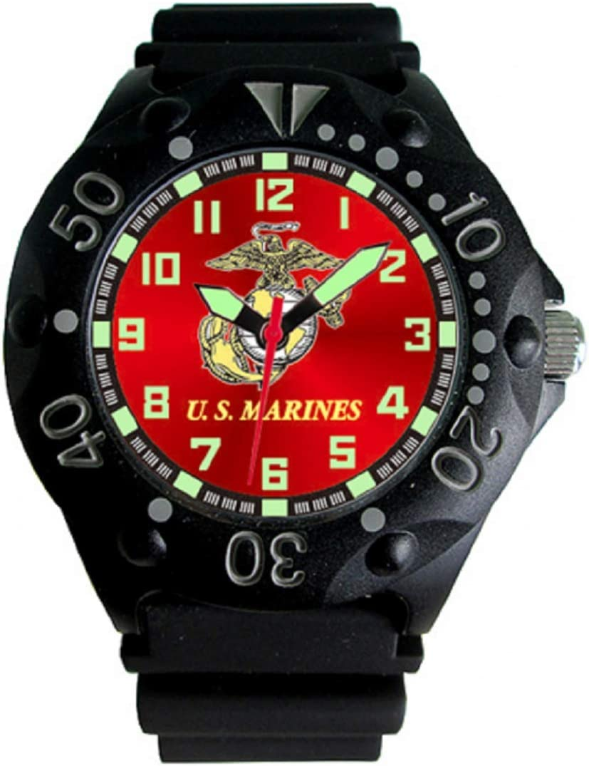 Aqua Force Marines Dive Watch with 48mm Red Face Rotating Bezel