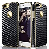 LOHASIC iPhone 7 Plus Case, Slim Fit Carbon Fiber Luxury leather [Flexible & Soft] Shockproof TPU Electroplated Frame Anti-Slip Grip Protective Cases Cover Compatible with iPhone 7 Plus - Carbon Fiber