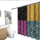 Indie interdesign Shower Curtain Vintage Eighties Fashion Style Patterns Colorful Funky Pop Unusual