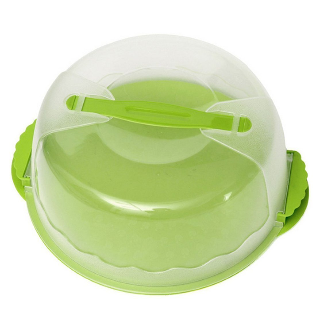 Cake Caddy, 10Inch Portable Round Cake Carriers Locking Cake Caddy Storage Container Server with Handle (Green)
