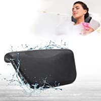 ESSORT Bathtub Pillow, Spa Pillow, Luxury Comfortable Soft Bath Cushion Headrest, for Shoulder Neck Support Backrest, Fits Any Size of Tubs, Jacuzzi (Black, PU Compact Version)