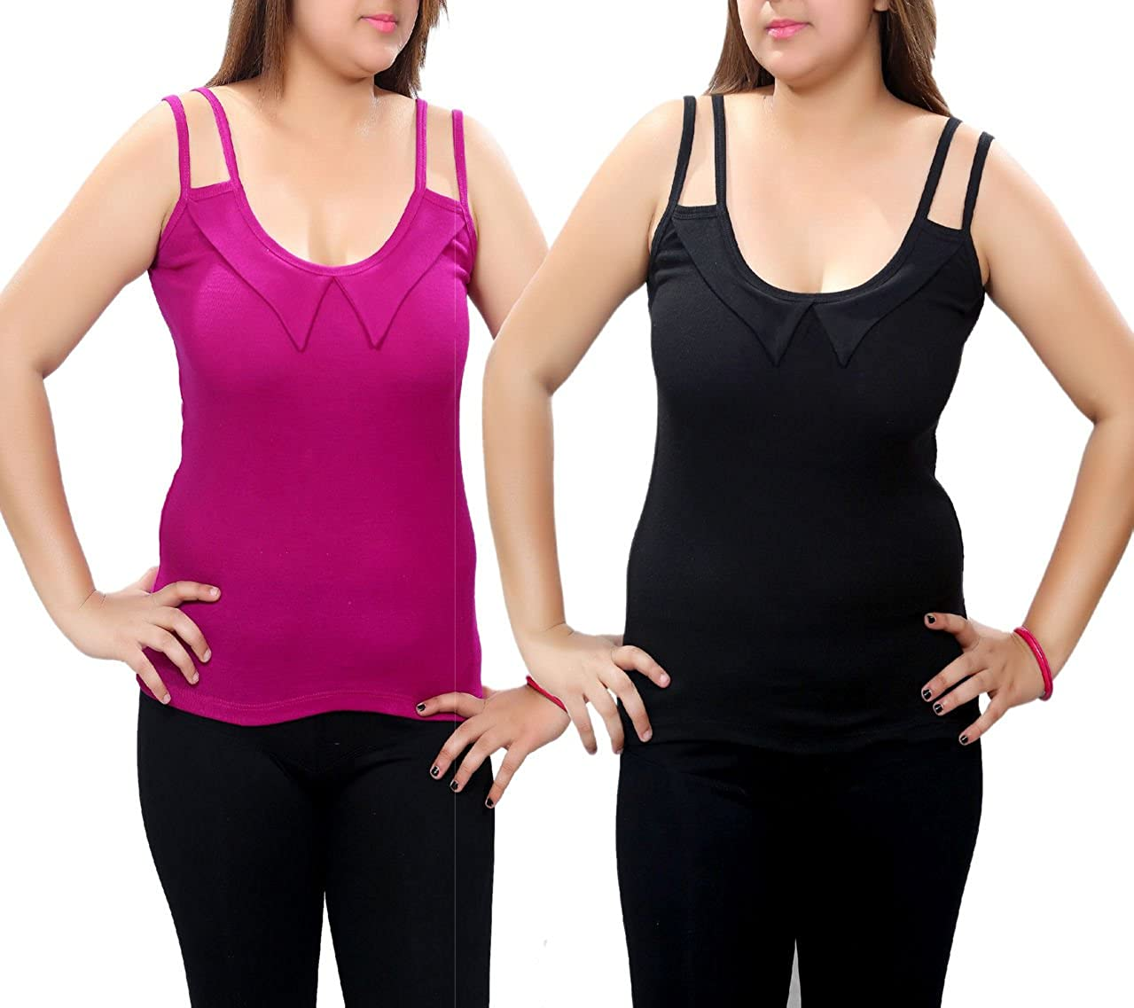 Pack Of 2 Q-rious Womens Collar Camisoles