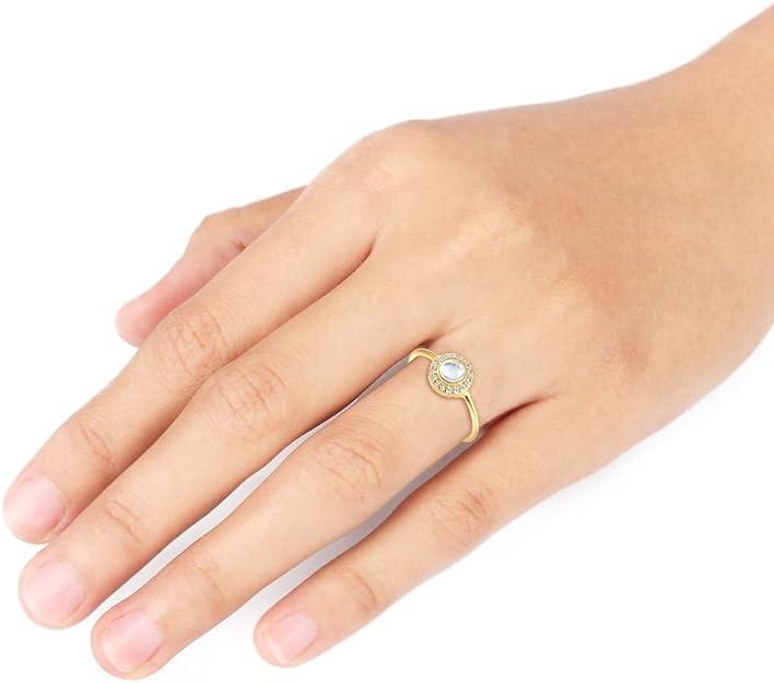 Elli Premium Ring Verlobung Mondstein Diamant (0,14 ct) 585