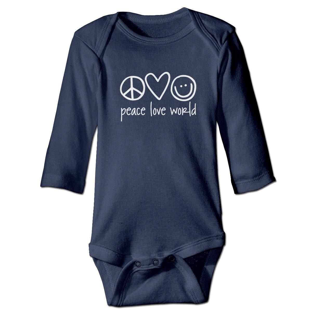 Peace Love World Baby Long Sleeve Onesies Bodysuit Cotton Romper Creeper