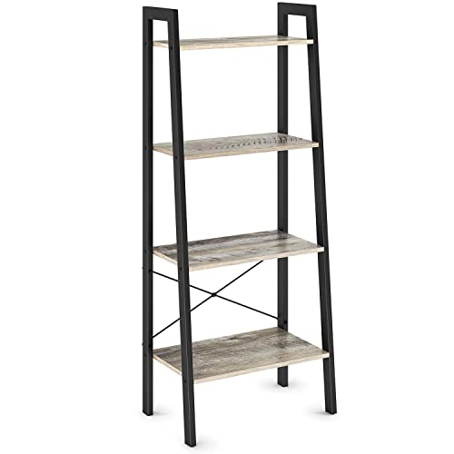 Ballucci Vintage Ladder Bookshelf, 4-Tier Storage Unit Rack Shelves, Wood Accent Furniture with Metal Frame, for Living Room, Kitchen, Easy Assembly, Rustic Grey