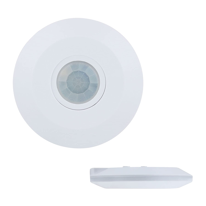 J.LUMI YCA1050 PIR Motion Sensor Light Switch, 2000W, Ceiling Mount Occupancy Sensor, PIR Motion Sensor Switch, PIR Sensor, Sensor de Movimiento, Slim Profile, White (85-265V AC)