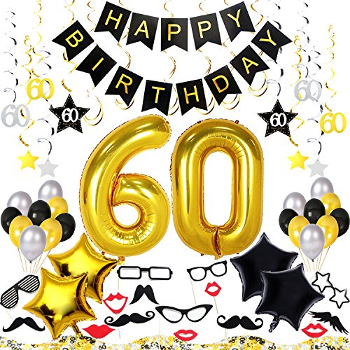 60th Birthday Decorations Kit 70 Pieces – Happy Birthday Banner, 40-Inch 60 Gold balloons, Sparkling Hanging Swirls, Photo Booth Props, Confetti for Table Decorations, Birthday Plan Checklist