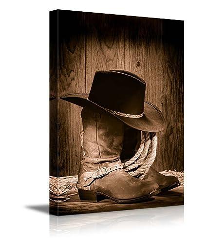 Amazon.com  wall26 - Cowboy Black Hat ATOP Western Boots - Canvas ... 1387f292481