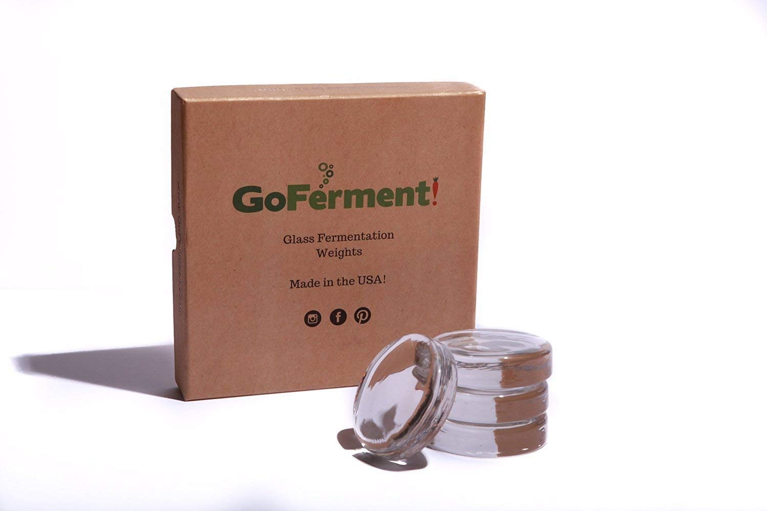 Go Ferment! Wide Mouth Mason Jar Glass Fermentation Weights & Recipe E-Book - Made in the USA by Go Ferment!