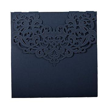 amazon com wishmade 1x blue laser cut invitation card kits square
